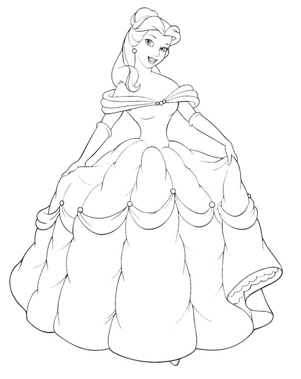 Belle, : Belle Pose with Gown From Beast Coloring Pages