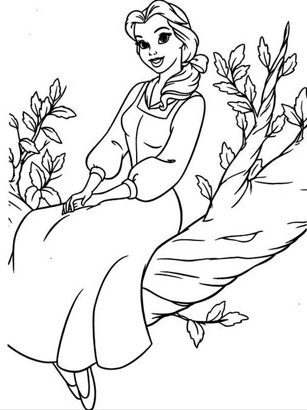 Belle, : Belle Sit at Tree Coloring Pages