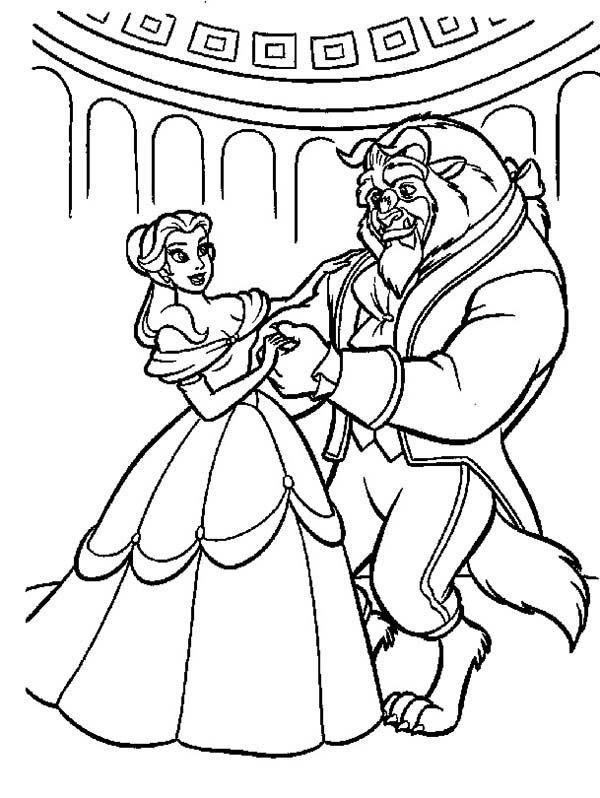 Belle, : Belle Teach Beast How to Dance Coloring Pages