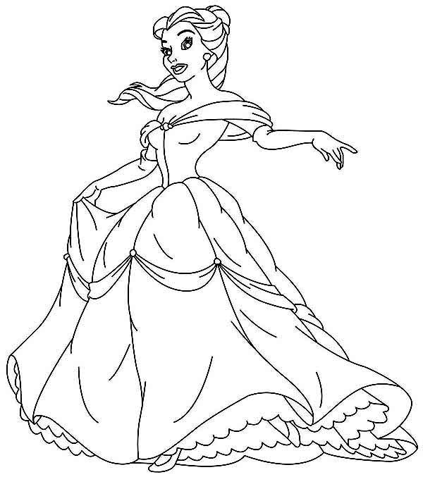 Belle, : Belle Wearing Beautiful Gown Coloring Page