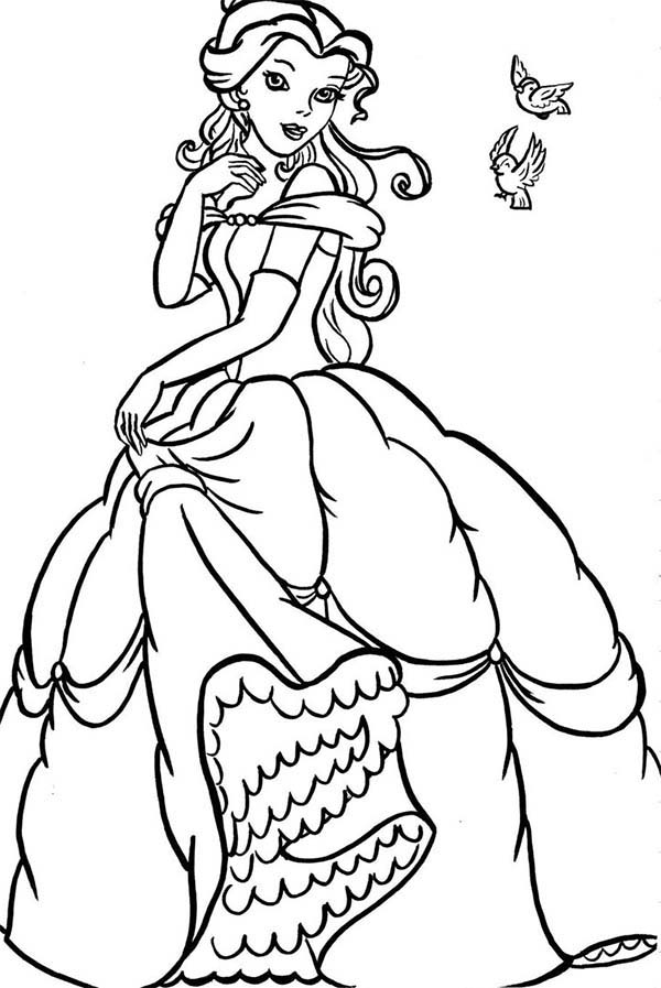 Belle, : Belle with Birds Coloring Pages