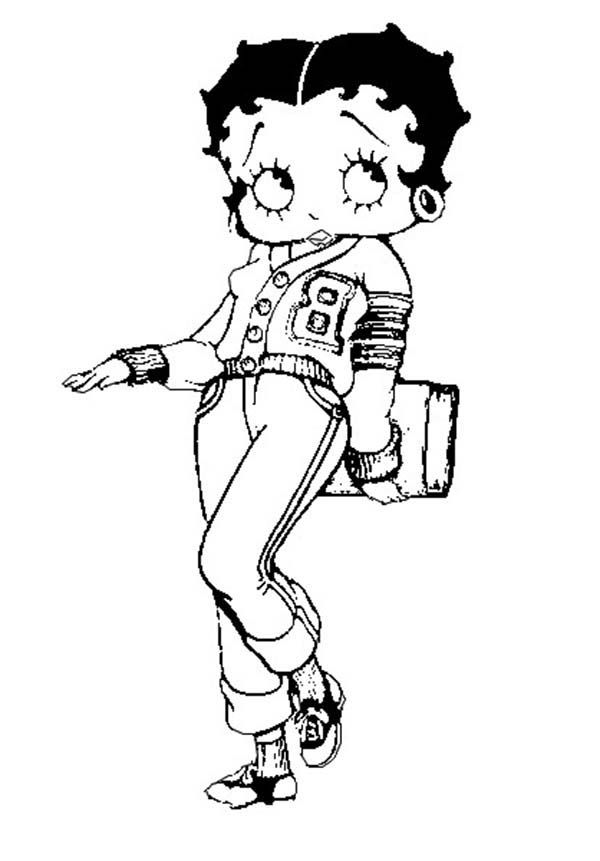 Betty Boop, : Betty Boop Going to College Coloring Page