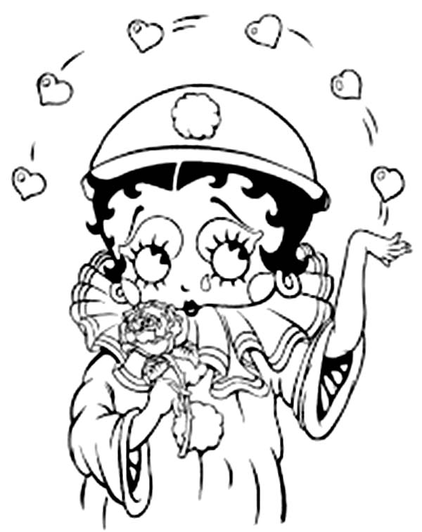 Betty Boop, : Betty Boop Throw a Lot of Love Coloring Page