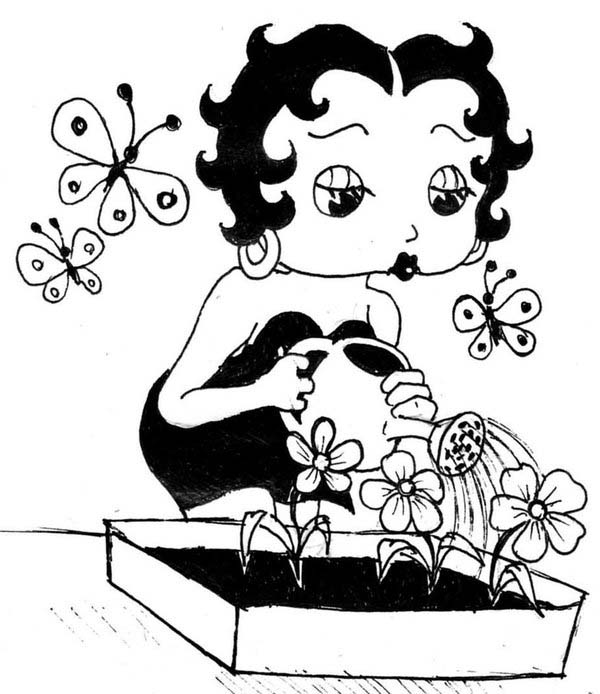 Betty Boop, : Betty Boop Watering Her Flower Coloring Page
