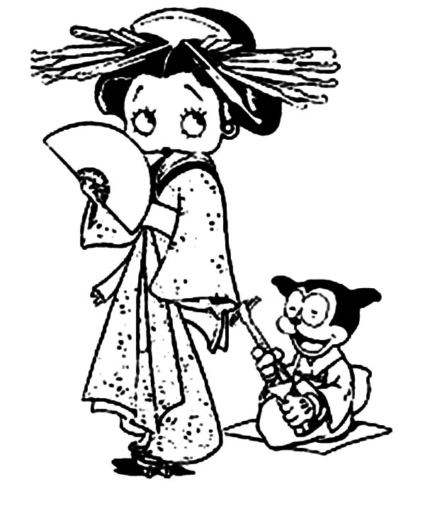Betty Boop, : Betty Boop Wear Kimono While Bimbo Play Guitar Coloring Page