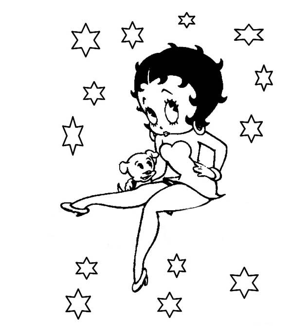 Betty Boop, : Betty Boop and Pudgy with Stars Coloring Page