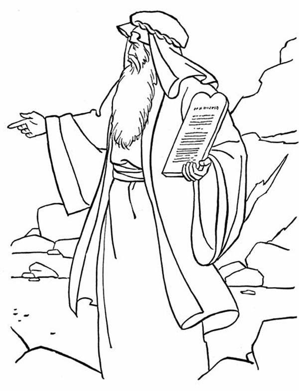 Ten Commandments, : Bible Story of Ten Commandments Coloring Page