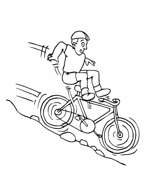 Bicycle Rider Falling Down from