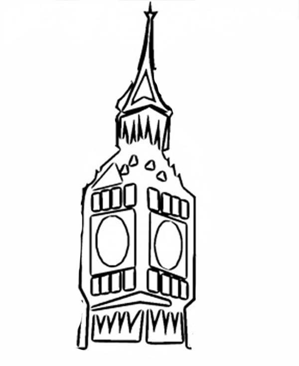 Big Ben, : Big Ben Clock Coloring Page