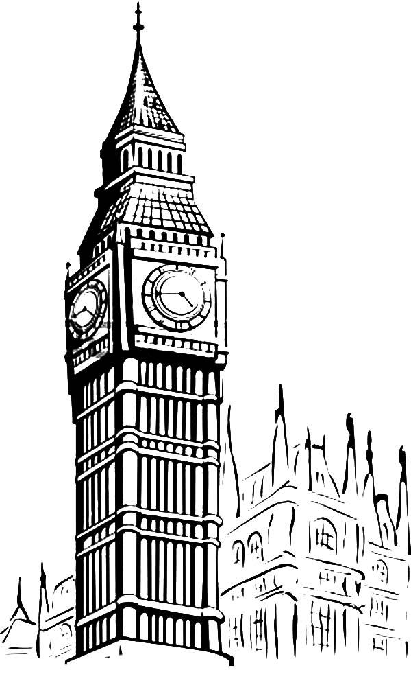Big Ben, : Big Ben Sketch Picture Coloring Page