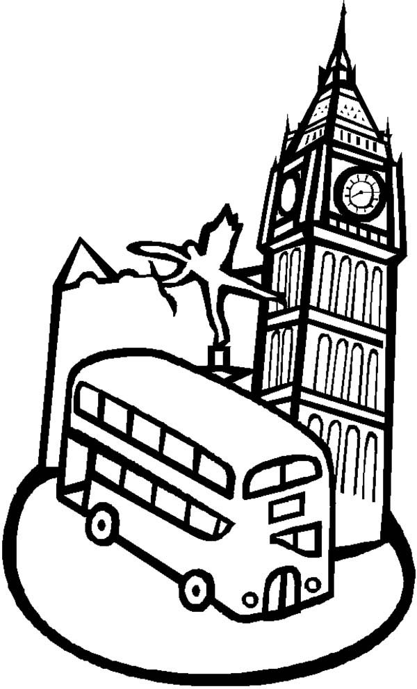 Big Ben, : Big Ben and a Double Decker Bus Coloring Page