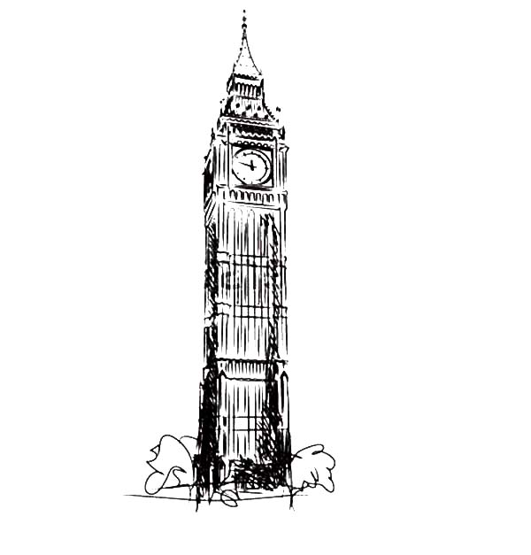 Big Ben, : Big Ben the Clock Tower of the Houses of Parliament Coloring Page