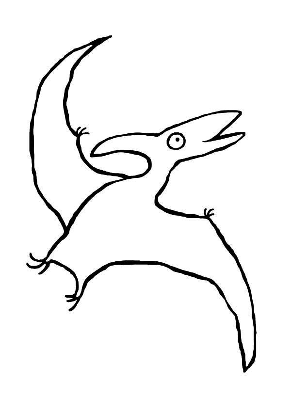 Pteranodon, : Big Eyed Pteranodon Coloring Page