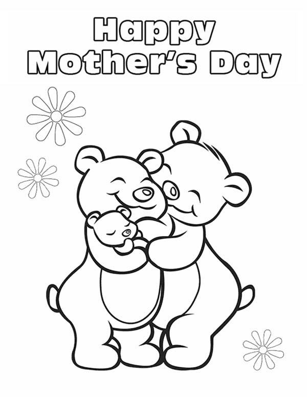 Mothers Day, : Big Hug from Mommy on Mothers Day Coloring Page