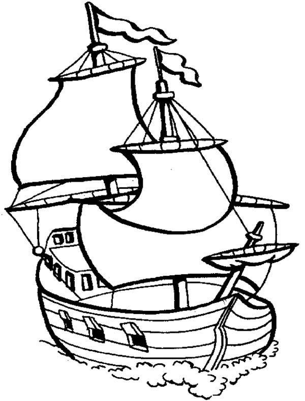 Boat, : Big Sail Boat Coloring Page