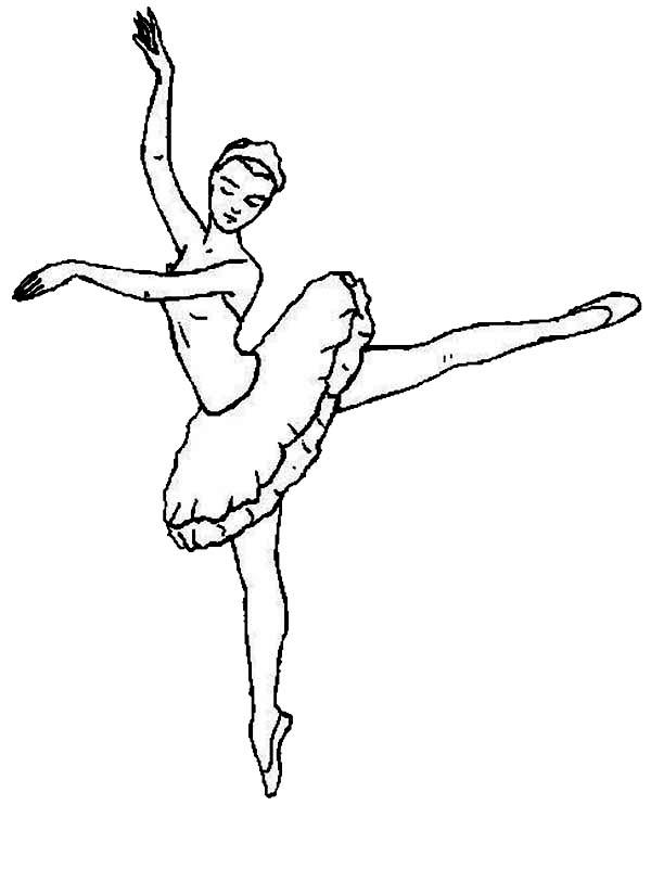 Dance, : Black Swan Ballet Dance Coloring Page