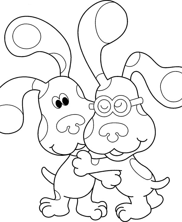 Blues Clues, : Blues Clues Hug His Friend Coloring Page
