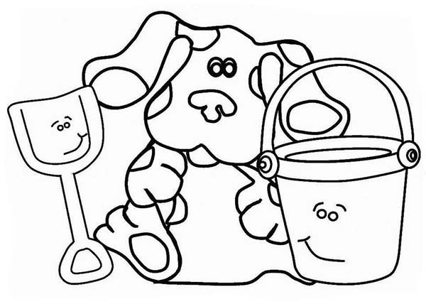 Blues Clues, : Blues Clues Play with Pail and Shovel Coloring Page