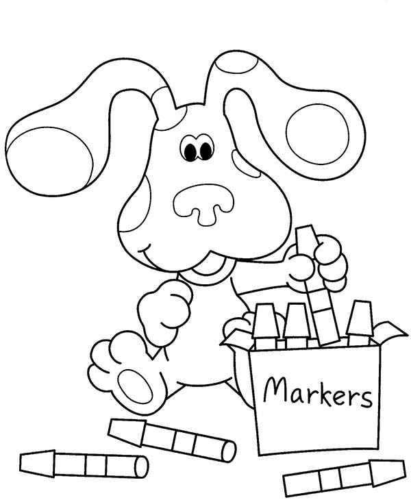 Blues Clues, : Blues Clues Playing Magic Marker Coloring Page