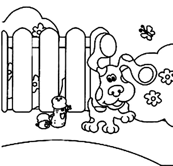 Blues Clues, : Blues Clues Walking Outside Coloring Page