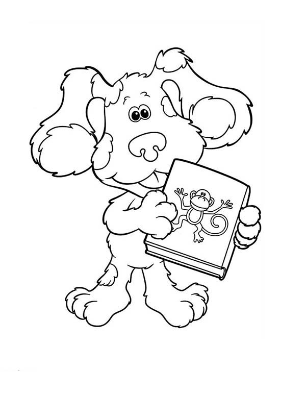 Blues Clues, : Blues Clues and Book About Monkey Coloring Page