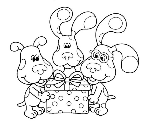 Blues Clues, : Blues Clues and Friends Open a Birthday Present Coloring Page