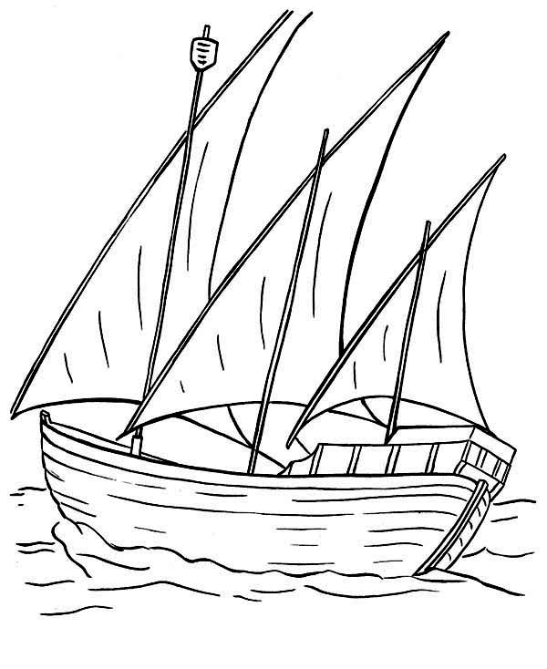 Boat, : Boat Has Three Sails Coloring Page