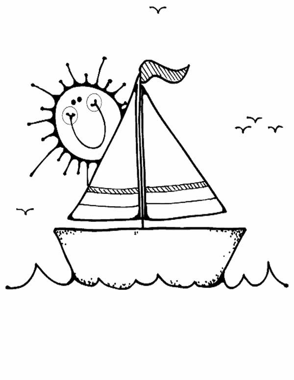 Boat, : Boat in Sunny Day Coloring Page
