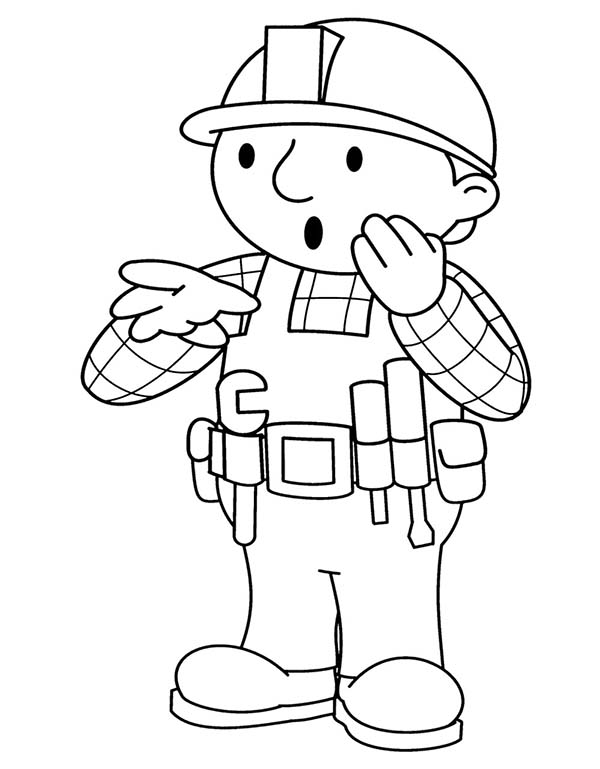 Bob the Builder, : Bob the Builder Feeling Confuse Coloring Page