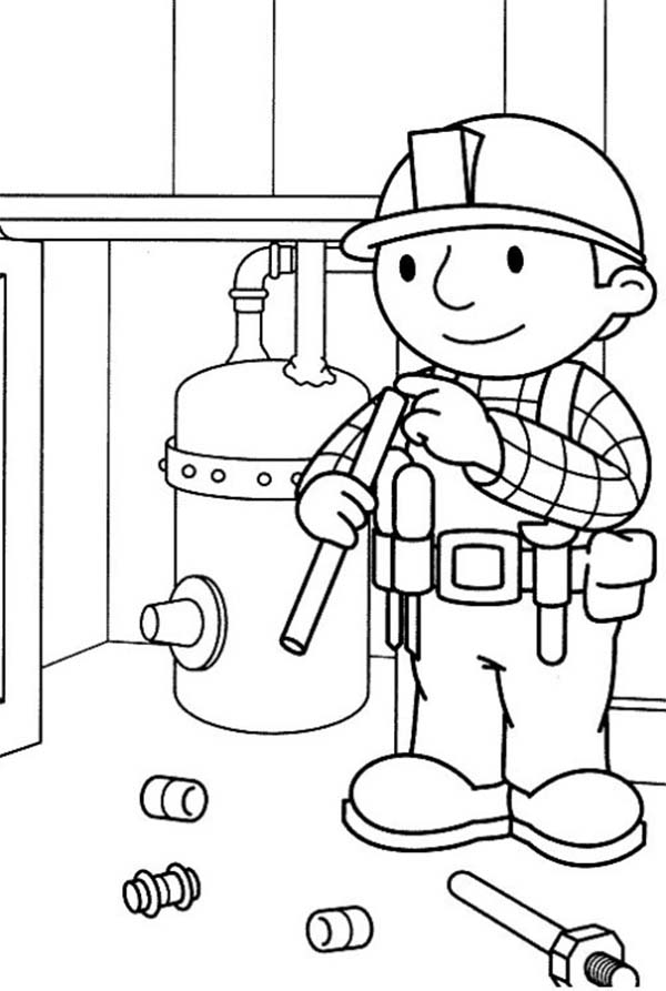 Bob the Builder, : Bob the Builder Fixing Gas Cylinders Coloring Page