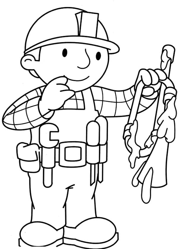 Bob the Builder, : Bob the Builder Remove Broken Part of Machine Coloring Page
