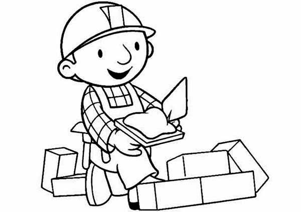 Bob the Builder, : Bob the Builder Working Happily Coloring Page