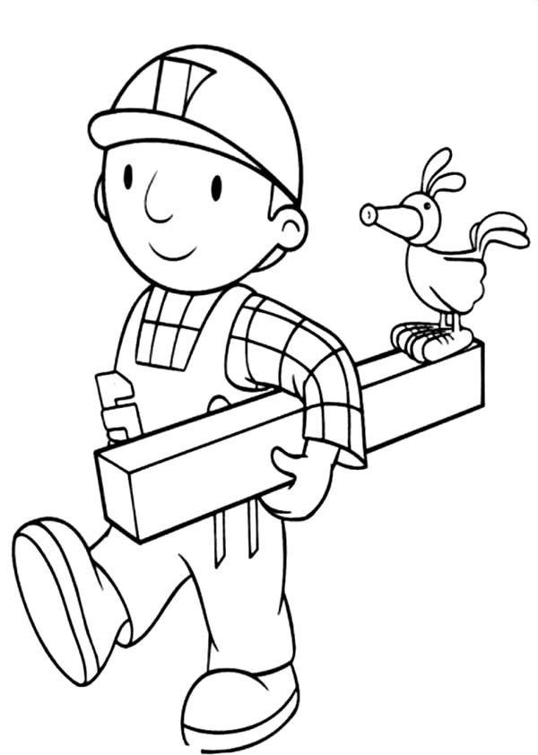Bob the Builder, : Bob the Builder is Holding a Wood Coloring Page
