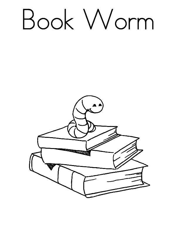 Books, : Book Worm Coloring Page