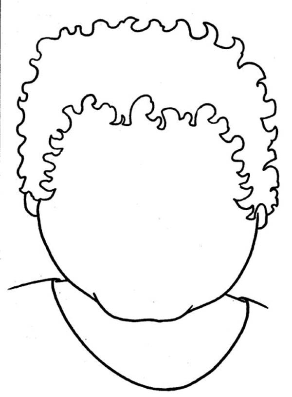 Face, : Boy with Rectangle Type of Face Coloring Page