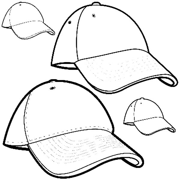 Baseball Cap, : Brand New Baseball Cap Coloring Page