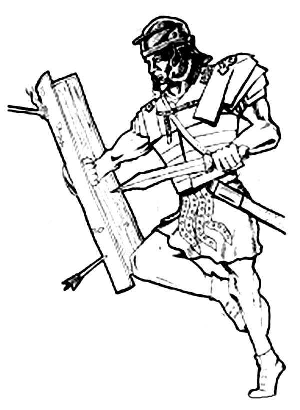 Armor of God, : Brave Warrior Fighting Using Armor of God Coloring Page