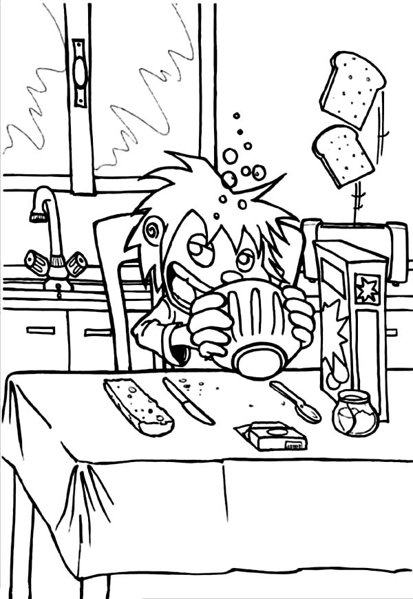 Breakfast, : Breakfast in the Morning Coloring Page