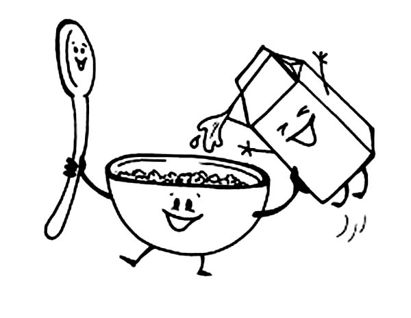 Breakfast, : Breakfast with Cereal and Milk Coloring Page