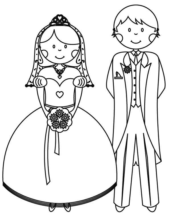 Wedding, : Bride and Groom in Wedding Coloring Page