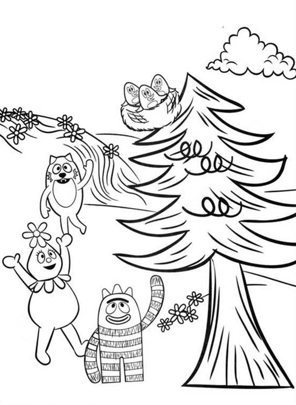 Yo Gabba Gabba, : Brobee Foofa and Toodee Want to Save Baby Birds on Tree in Yo Gabba Gabba Coloring Page