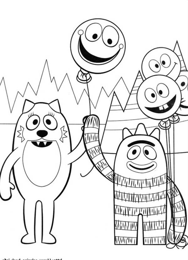 Yo Gabba Gabba, : Brobee Give Balloon to Toodee in Yo Gabba Gabba Coloring Page