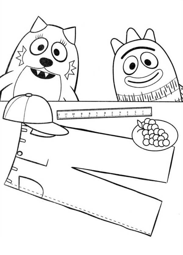 Yo Gabba Gabba, : Brobee and Toodee Learning to Make Pants in Yo Gabba Gabba Coloring Page