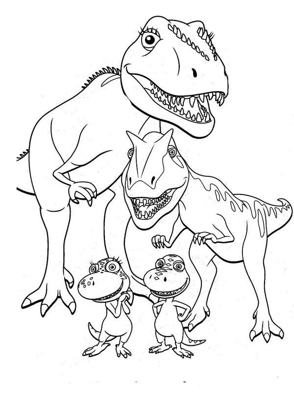 Dinosaurus Train, : Buddy Family Posing Together in Dinosaurus Train Coloring Page
