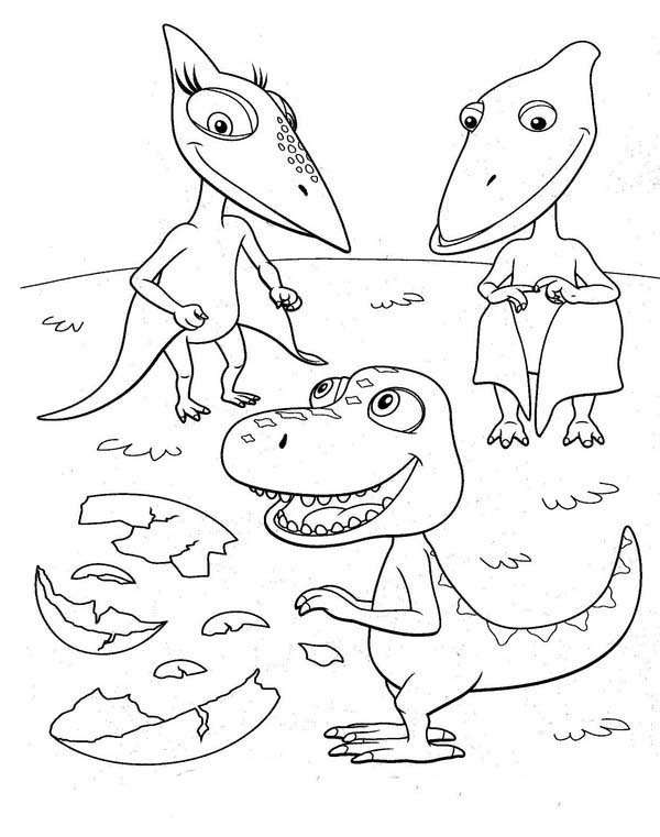 Dinosaurus Train, : Buddy Meet His Friends Tiny and Shiny for the First Time in Dinosaurus Train Coloring Page
