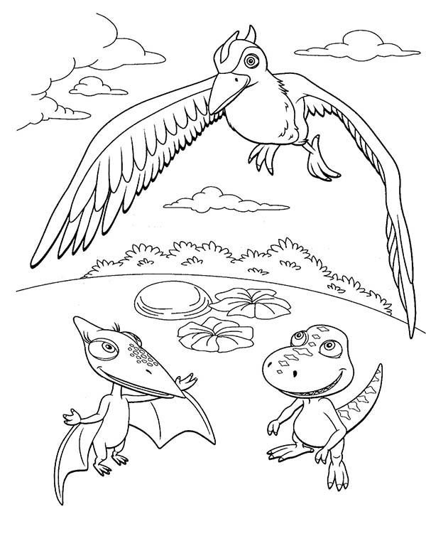 Dinosaurus Train, : Buddy and Tiny Say Hi to Their New Friend in Dinosaurus Train Coloring Page