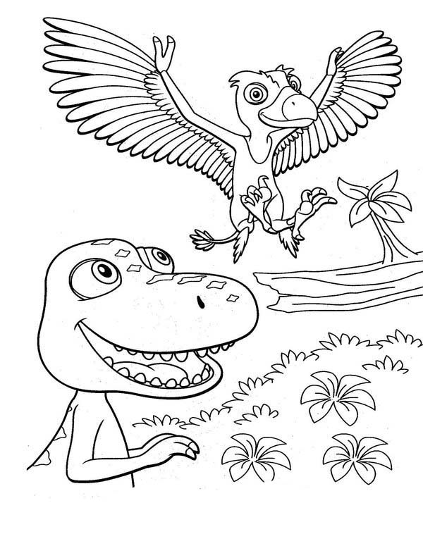 Dinosaurus Train, : Buddy is Delight to Meet His Friend in Dinosaurus Train Coloring Page