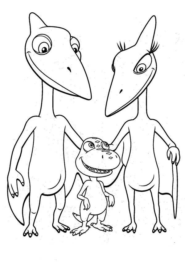 Dinosaurus Train, : Buddy with Mr and Mrs Pteranodon Tinys Parent in Dinosaurus Train Coloring Page