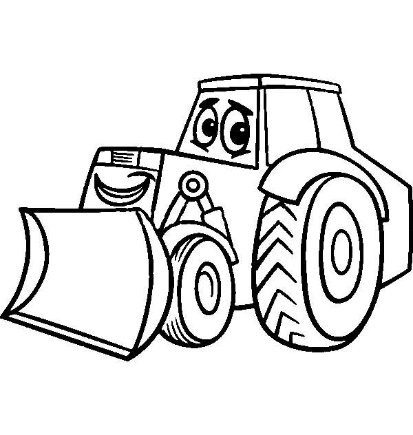 Bulldozer, : bulldozer cartoon for coloring book