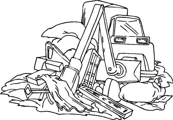 Bulldozer, : Bulldozer Cleaning Waste Coloring Page